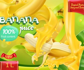 Banana juice poster template vector