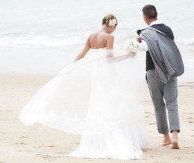 Beach newly married couple Stock Photo