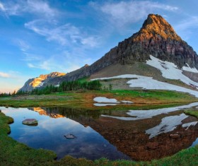 Beautiful scenery reflected by mountains and rivers Stock Photo