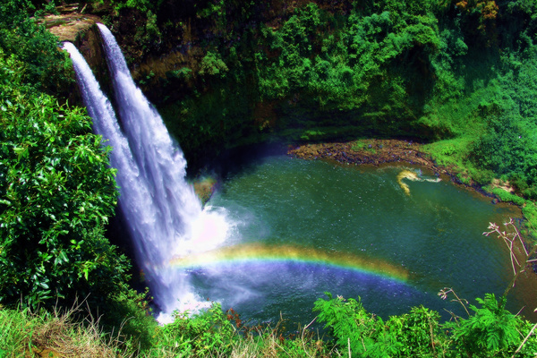 Beautiful waterfall rainbow Stock Photo