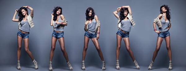 Beautiful woman five continuous shooting Stock Photo