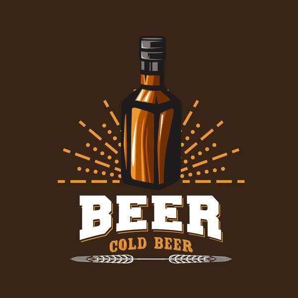 Beer emblem retro design vector material 02