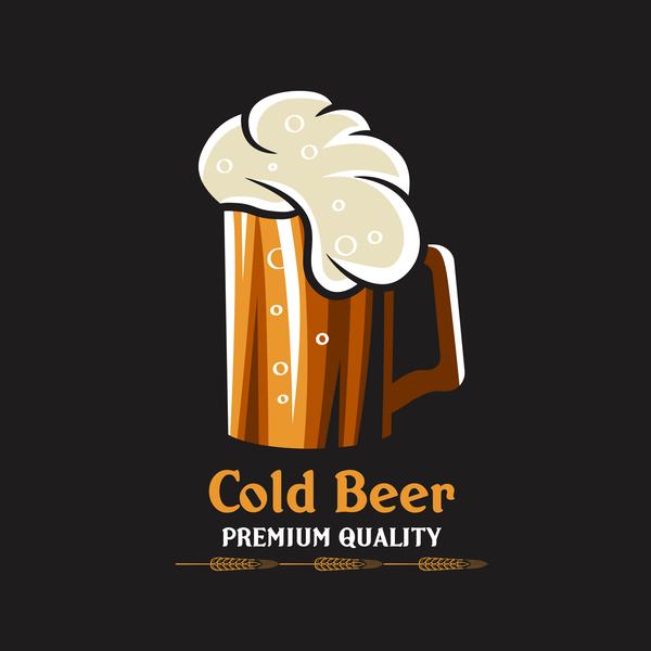 Beer emblem retro design vector material 03