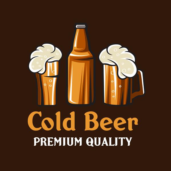 Beer emblem retro design vector material 04