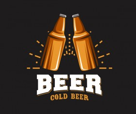 Beer emblem retro design vector material 05