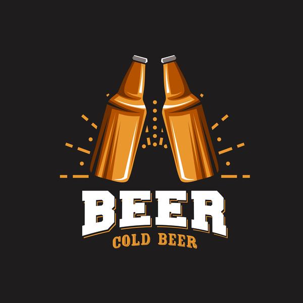 Beer emblem retro design vector material 05