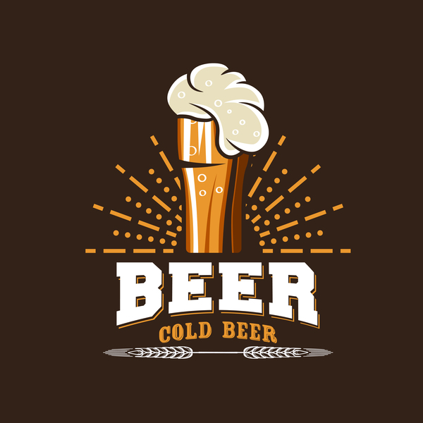 Beer emblem retro design vector material 06