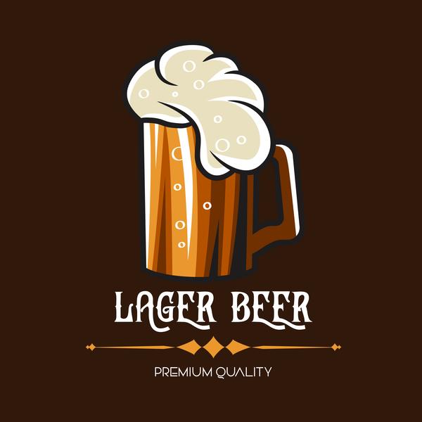 Beer emblem retro design vector material 07