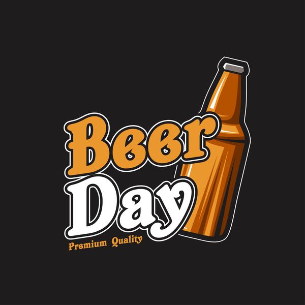 Beer emblem retro design vector material 08