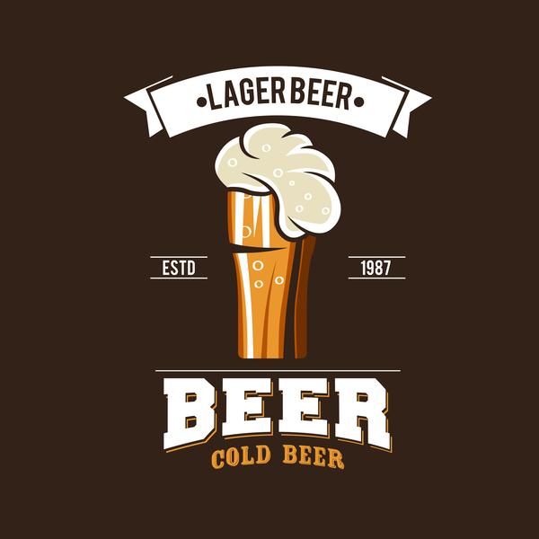 Beer emblem retro design vector material 09