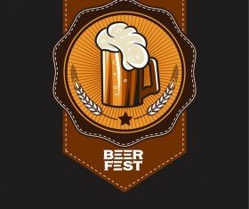 Beer emblem retro design vector material 10
