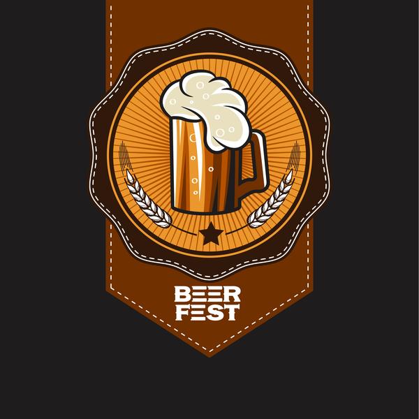 Beer emblem retro design vector material 10