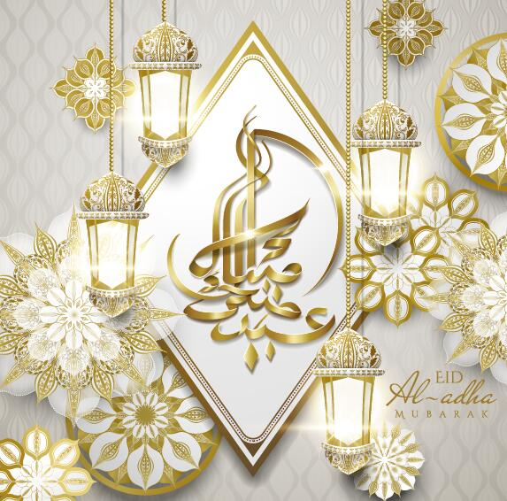 Beige eid mubarak background vector 04