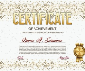 Beige Pixelated Certificate Template Vector Material 02  Certificate Of Achievement Templates Free Download