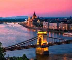 Berlin beautiful night view and bridge Stock Photo