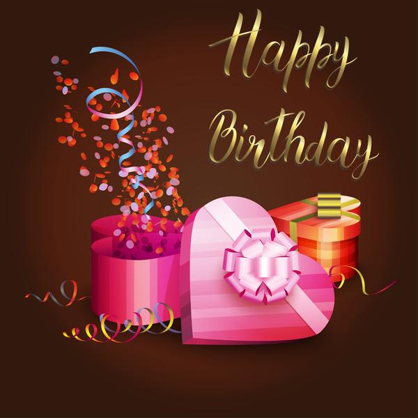 Birthday gift box illustration vector