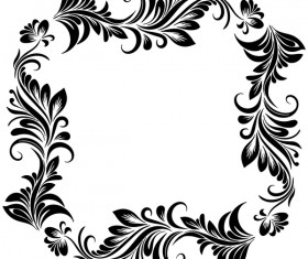 Black flower decorative frame vectors material 01