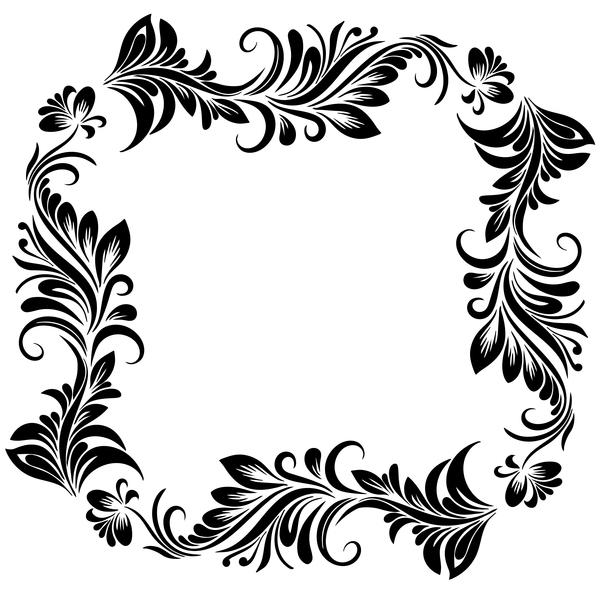 Black flower decorative frame vectors material 01