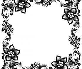 Black flower decorative frame vectors material 02