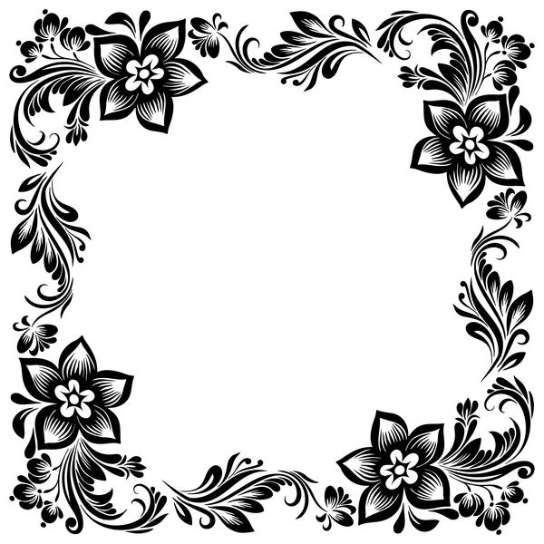 Black flower decorative frame vectors material 02