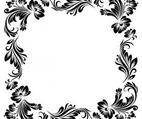 Black flower decorative frame vectors material 03