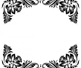Black flower decorative frame vectors material 04