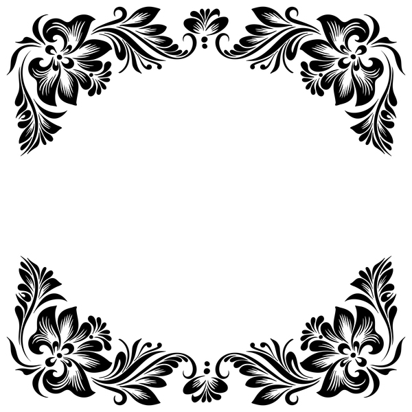 black flower decorative frame vectors material 04 free floral designs clipart black and white floral designs clipart black and white