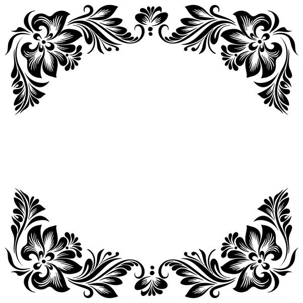 Black flower decorative frame vectors material 04