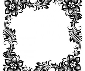 Black flower decorative frame vectors material 05