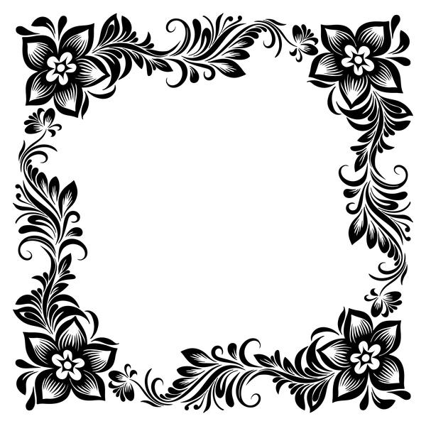 Black flower decorative frame vectors material 05