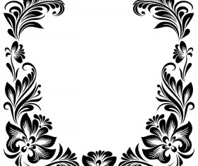 Black flower decorative frame vectors material 06