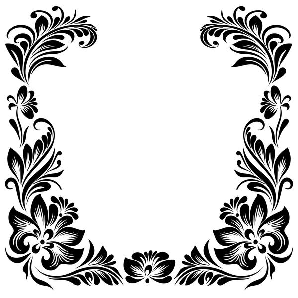 Black flower decorative frame vectors material 06