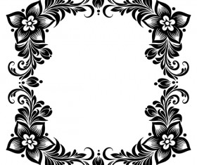 Black flower decorative frame vectors material 07