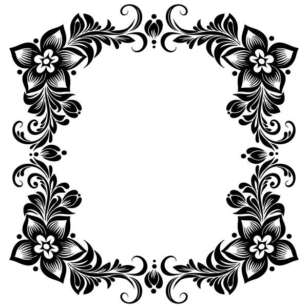 Black flower decorative frame vectors material 07