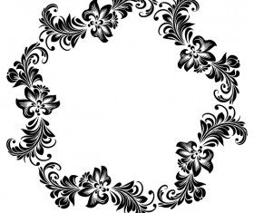 Black flower decorative frame vectors material 08