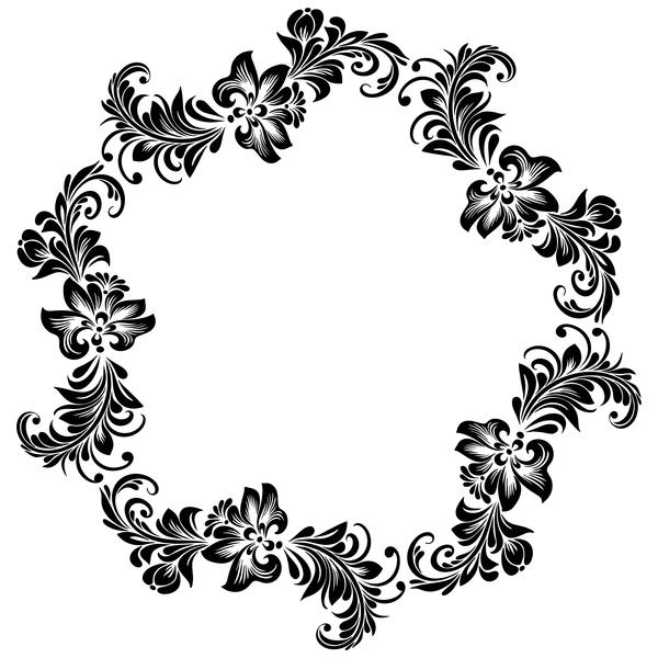 Black flower decorative frame vectors material 08