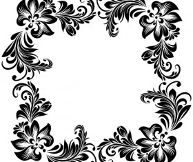 Black flower decorative frame vectors material 09