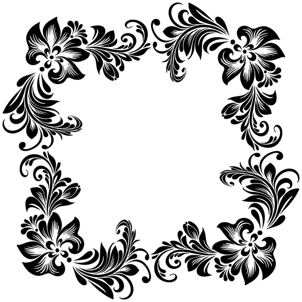 Black flower decorative frame vectors material 09