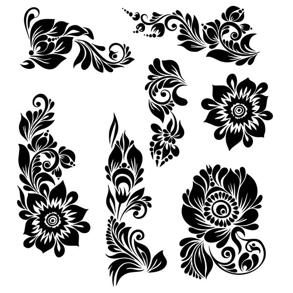 Black ornaments floral vector illustration