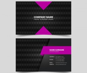 Black with purple business card remplate vector 01