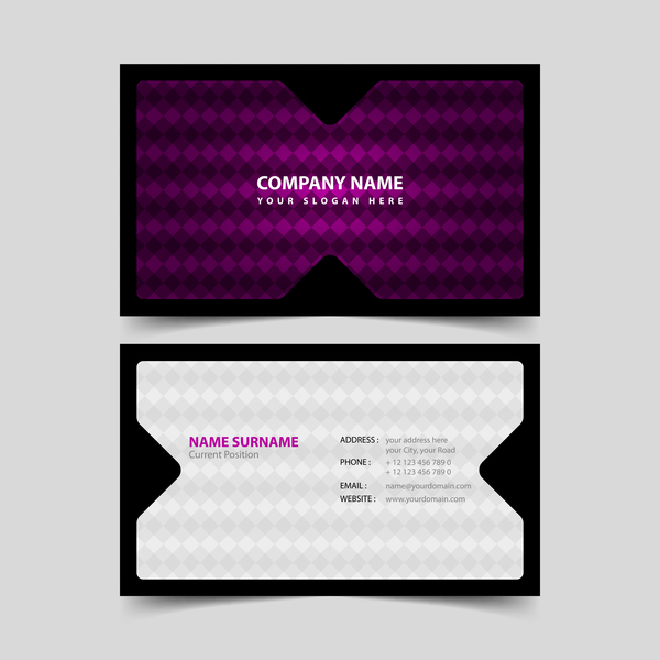 Black with purple business card remplate vector 02