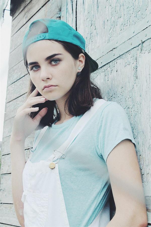 blue eyes of the european girl stock photo
