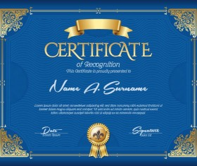 Blue styles certificate template vector