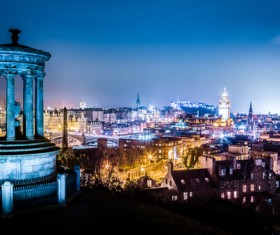 Bright lights of the night of the Roman city Stock Photo 01
