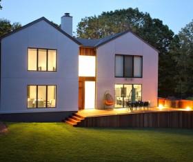 Brightly lit villa Stock Photo