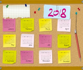 Calendar 2018 with corkboard vector