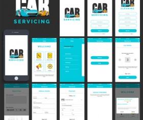 Car servicing app UI design vector