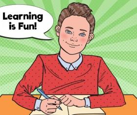 Cartoon boy with school desk vector 01