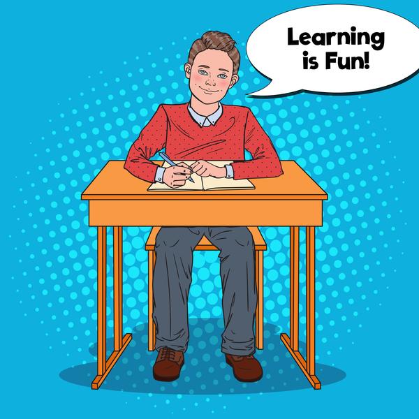 Cartoon boy with school desk vector 02