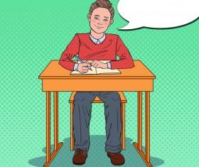 Cartoon boy with school desk vector 03